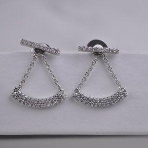 Henri Bendel Silver Strip Zircon Earrings